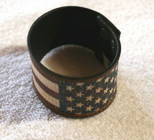 Mens Western Leather Bracelet Snap Patriotic Handcrafted Cuff Wide