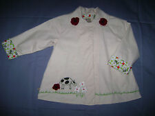 Coco BonBons Boutique Jacket Coat Ivory w/Embroidered Cow & Flowers size 5T