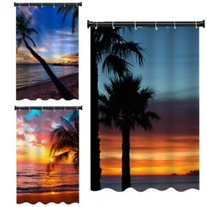 1pc Sunny Beach Tree Water Repellent Bathroom Shower Curtain Liner with 12 Hooks