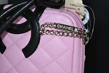 NEW CHANEL PINK Black 31 Rue Cambon Calfskin Clutch Shoulder Bag RARE!