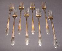"8 Vintage WM Rogers & Son IS Gardenia Silverplate Dinner Forks Long 7 1/2"""