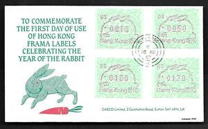 Hong Kong, China 1987 New Year of Rabbit Label FDC Zodiac Animal