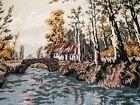 Vintage Country Tapestry Art Jacquard Knit Hanging Forest Landscape Fringed 50s