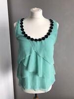 Lipsy London Aqua Green Vest Top With Black Collar Detailing - Size 14