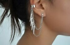 2X Gothic Punk Taper Ear Cuff Chain Tassels Dangle Clip Earring