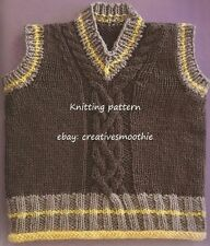 (441) Baby's Adorable Cable Tank Top/ Sweater Vest, DK Knitting Pattern