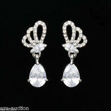 W. Teardrop Cubic Zirconia Silver Bridal Wedding Earrings