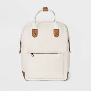 Universal Thread Square Backpack - White Canvas - Natural/Brown Faux Leather