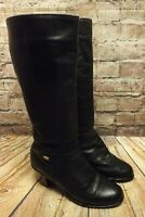 Womens Black Leather Zip Up Mid Heel Wool Lined Knee High Boots UK 7 EUR 40