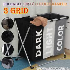 Large Capacity Foldable Clothes Laundry Basket 3 Section Hamper Bag Portable