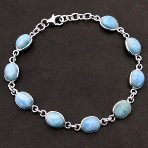 Oval Larimar Gemstone 925 sterling Silver Jewelry Handmade beautiful Bracelet