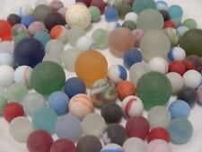 Lot  Of 100 Vintage Beach Sea Style Marbles Sea Glass Shooters Red Blue Green