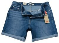 Levi's Women's Classic Stretch Denim Short Mid Rise in Blue