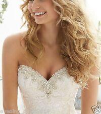 Elegant Mermaid Beaded Wedding Dress White/Ivory Bridal Gown Custom Size