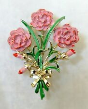 Enamel Flower Brooch Pin Flowers Buds Green Leaves Bow Gold Tone Finish Signed