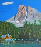Vintage Folk Naive Painting Yacht Club Pacific Northwest Log Building Rischall