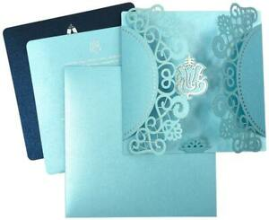 Personalized Printing Wedding Invitation Laser Cut Folded Card with Envelope
