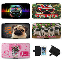 Personalised iPhone Case Pug Flip Phone Cover Birthday Gift Dog Cute Pet Girls