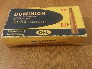 Dominion Centre Fire Cartridges 30-30 Winchester vintage EMPTY BOX ONLY