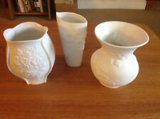 3 Kaiser White Bisque Vases Perfect