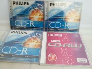 Phillips CD-R 700mb 80min 52 x Certified Speed Recording CDs Maxell New / Sealed