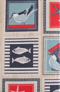 Sea Life and Birds Coastal Patchwork Vinyl Flannel Back Tablecloth - Var Sizes