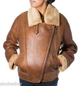 Ladies Camel Brown Aviator Sheepskin Leather Bomber Side Zip Flying Biker Coat