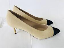 CHANEL Beige Suede Black Satin Toe PUMPS Silver CC Heel Size 38