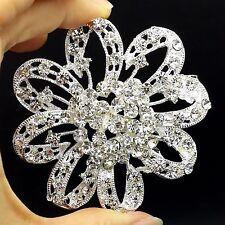 Big 7cm Alloy Sliver Rhinestone Crystal Brooch Pin Women DIY Wedding Bouquet