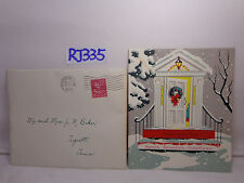 VINTAGE CHRISTMAS CARD+ENVELOPE 1953 50'S WHITE HOUSE FRONT DOOR+WREATH YELLOW