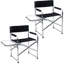 2PC Aluminum Folding Director's Chair with Side Table Camping Traveling GOPLUS