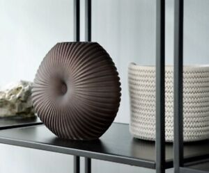 Black Glass Textured Unusual Statement Vase Ornament 20cm