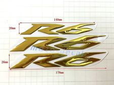 3 pcs R6 Raised 3D Chrome Gold Decal Emblem Sticker For Yamaha YZF600 R6 Bling