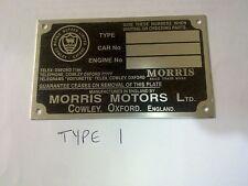 CHASSIS PLATE aluminium MORRIS MOTORS isis 1100 1300 1800 8 10 12 14 marina 3typ
