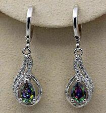 Women's 18K White Gold Mystic Topaz Hollow Waterdrop Dangle Earrings Jewelry New