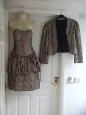 Vintage Vestido + Chaqueta de invierno para mujer Fit Size 10 Cóctel Fiesta Damas ocasión