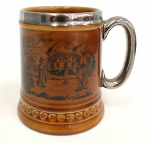 Vintage LORD NELSON Pottery Tankard Ice Skaters Scene - H41