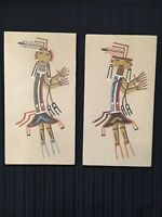 VTG Pair Of NATIVE AMERICAN INDIAN ART PAINTINGS Sand - Signed A Watchman