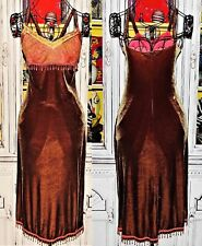 Betsey Johnson VINTAGE Dress STRETCH CRUSHED VELVET Brown LACE Bead SLIP M 6 8
