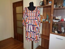 TOTEM CLOTHING BRAZIL VISCOSE ART-DECO MULTICOLORED RELAXED BATWING TUNIC-SIZE 1