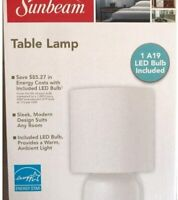 Sunbeam Black or White Table Lamp with LED Bulb Included BRAND NEW! FAST SHIP!