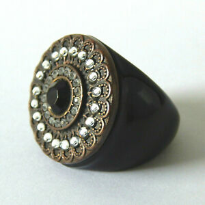 VINTAGE Chunky Lucite Rhinestone Black Cocktail Large Ring Size P