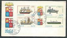 1977 ITALIA FDC POSTE ITALIANE NAVI BLOCCO NO TIMBRO ARRIVO - EDG32-2