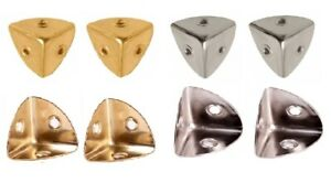 4 x Case Corners for Wooden Chest or Flight Case Chest Corners Brass or Nickel
