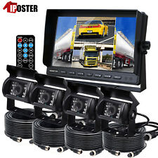 "9"" Quad DVR Monitor 4 Video+ 4x Reversing CCD Camera+4x 15M 4Pin Cable For Truck"