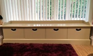 Painted Gallery Toy chest / Window Seat with 4 drawers
