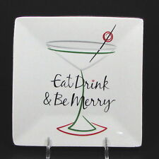 """St. Nicholas Square EAT DRINK & BE MERRY 6"""" Square Appetizer Plate Cocktail"""