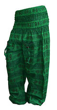 INDIAN BAGGY GYPSY HAREM PANTS YOGA MEN WOMEN GREEN OM PRINT TRADITIONAL TROUSER
