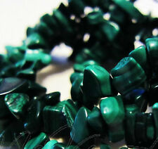 """1990's 22"""" in Genuine Malachite Polish Bead Necklace,Natural Green Stone Chips"""
