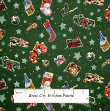 SPX A Day In The Life Of Santa Christmas Toy Toss Green Star Cotton Fabric YARD